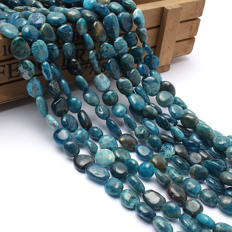 Natural Stone Beads 8-10mm Irregular Blue Apatite Stone Beads For Jewelry Making Bracelet Necklace 15inches-geekbuyig