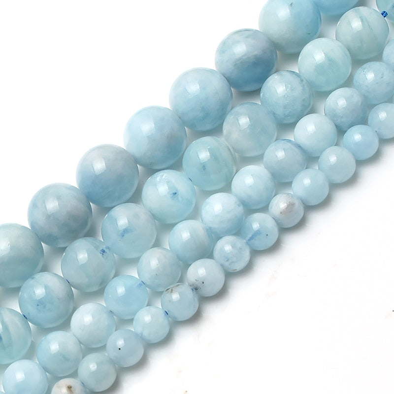 Natural Aquamarine Stone Round Loose Spacer Beads For Jewelry Making Bracelet Necklace 15inches/strand 6/8/10/12mm pick size-geekbuyig