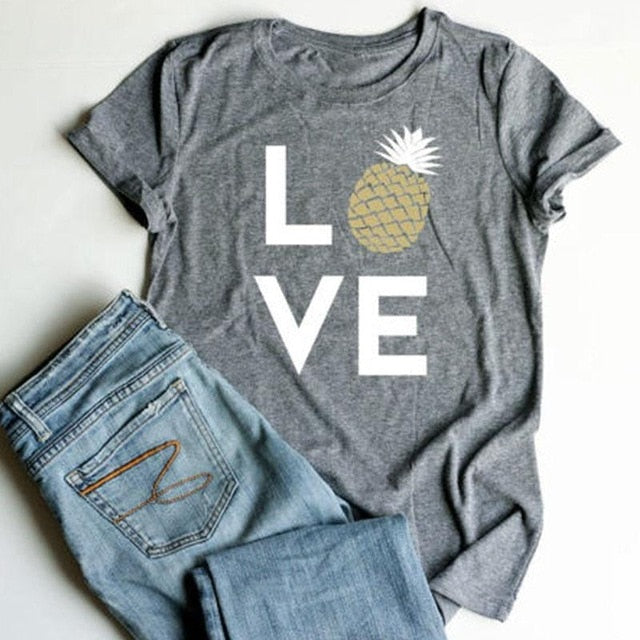 Plus Size Summer Women T-Shirt Tops Love Pineapple Print Gray Top O-Neck Short Sleeve Casual T shirt Female Tee Ladies 3XL-geekbuyig