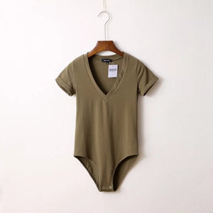 FP Style Solid Color Deep V Neck Short Sleeve Slim Bodysuit Top Simple Fashion T Shirt Street Style-geekbuyig