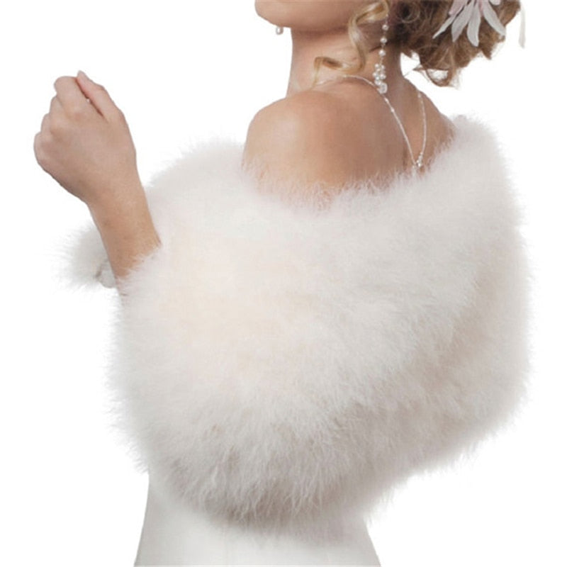 Luxurious Ostrich White Feather Wrap Bridal Fur Jacket Marriage Shrug Coat Bride Winter Wedding Party Fur bolero women chaqueta-geekbuyig
