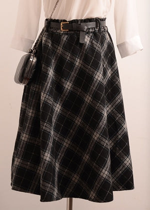 New Plaid Skirt Women Long A-Line Skirt British Style Woolen Plaid Skirts Kilt Winter Vintage Wool Tartan Umbrella Plaid Skirts-geekbuyig
