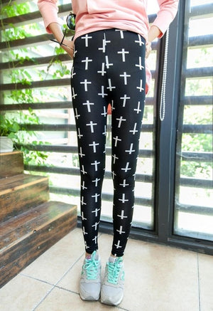 CUHAKCI Graffiti Leggings Floral Patterned Print Leggins For Women Leggings Houndstooth Sale Elastic Design Vintage Leggins W056-geekbuyig