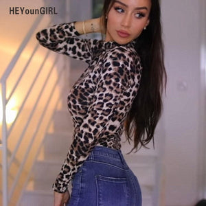 HEYounGIRL Leopard Bodysuit for Women Sexy Bodycon Skinny Body Suit Turtleneck Long Sleeve Playsuit Printed Romper Jumpsuits-geekbuyig