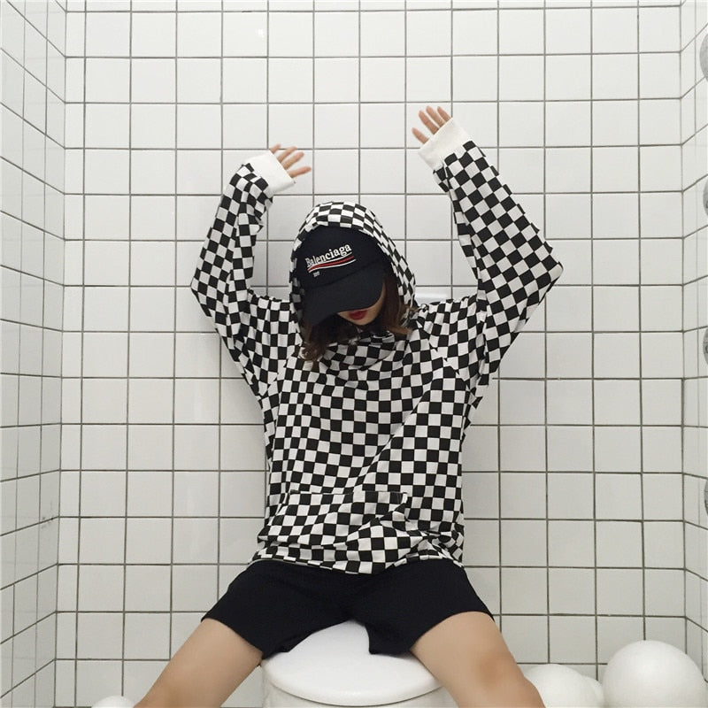 South Korea INS with the original Harbors BF wind wild black and white checkerboard lattice loose hooded men and women-geekbuyig
