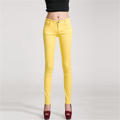 NDUCJSI Casual Jeans Women Jeans Cotton Pencil Legins Femme Skinny Jeans Mid Waist Woman Slim Fit Woman Full Length Candy Color-geekbuyig
