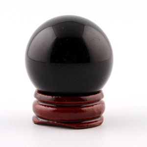 35mm Black Obsidian Sphere Natural Stone Carved Crafts With Wood Stand Grey Crystal Chakra Healing Reiki Ball With Free Pouch-geekbuyig