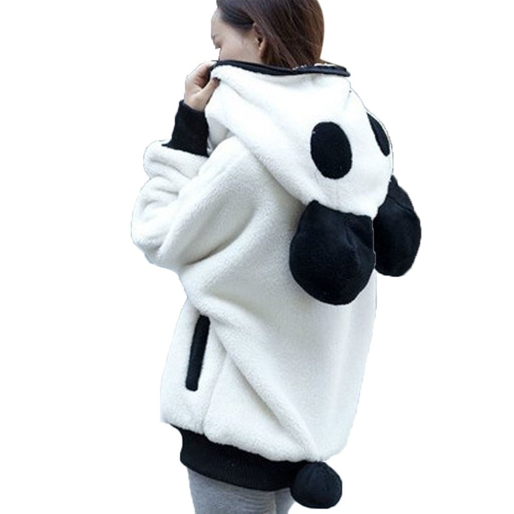 Soft Hoodies Cute Panda Pullovers Women Lolita Warm Fleece Hoodies Winter Bear ear Lovely Outerwear Casual Zip-up Pocket Coat-geekbuyig