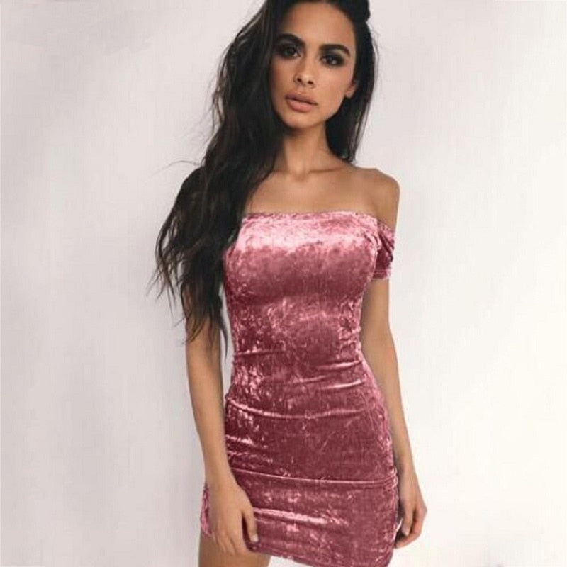 Sexy Slash Neck Strapless Bodycon Dress Women Off Shoulder Velvet Mini Dress Pencil Party Dresses Vestidos Feminino-geekbuyig