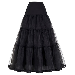 Women Black Red Retro Skirt For Wedding Fashion Vintage Long Skirts Crinoline Underskirt Ball Gown Empire Voile Tulle Petticoat-geekbuyig
