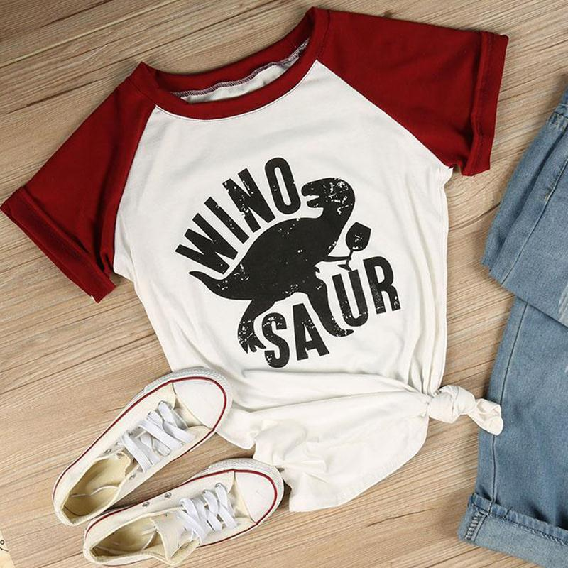 T-Shirts Women Short Sleeve Raglan Winosaur Dinosaur Print O-Neck Female Tops Summer Fashion Casual T Shirt Ladies Tops Tees-geekbuyig
