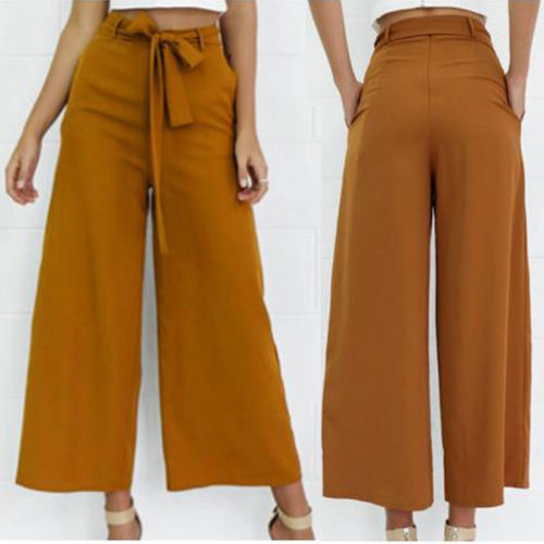Fashion Womens Ladies Palazzo Pants Korean Style High Waisted Wide Leg Trousers Loose Casual Bandages Long Pant-geekbuyig