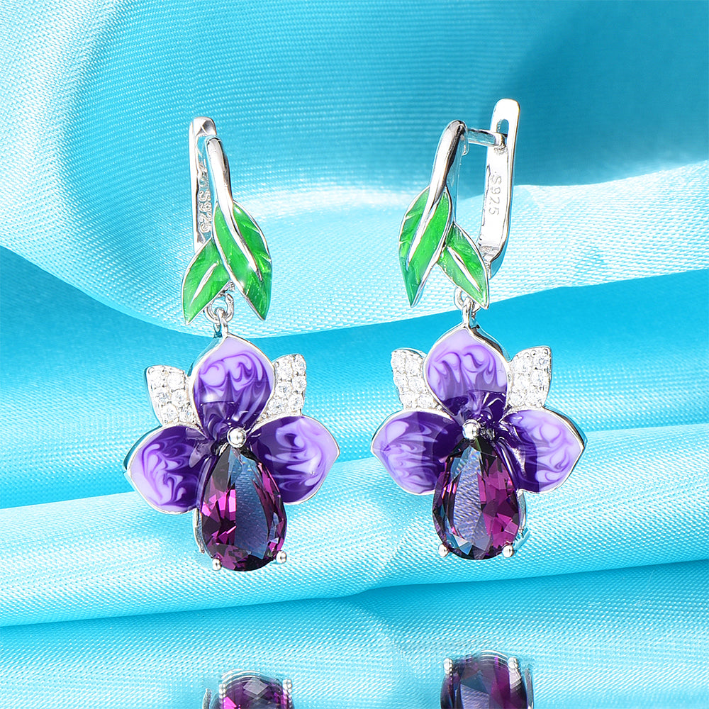 WindJune Handmade Purple Enamel Flower Silver Earrings for women Engagement 925 silver Drop Earring Zircon Party Jewelry-geekbuyig