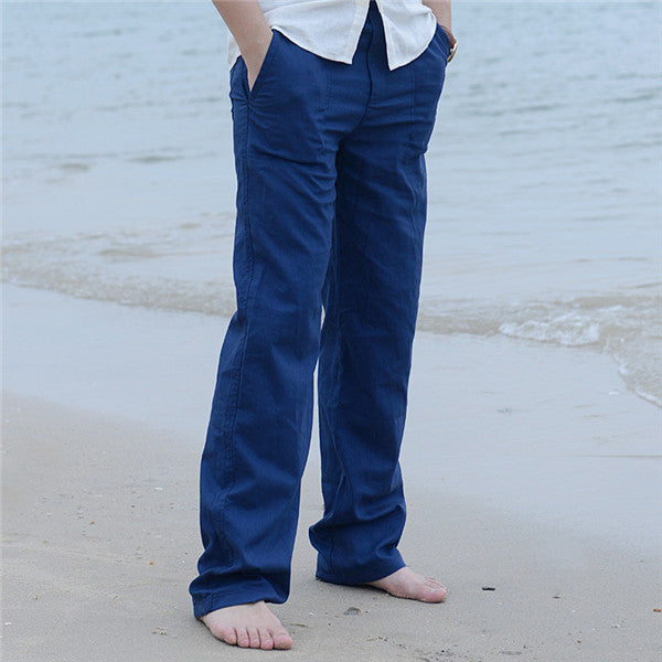 Summer Spring Mens Linen Long Pants Elastic Waist Solid Color Straight Casual Loose Cool Long Trousers Plus Size M-3XL Y2374-geekbuyig