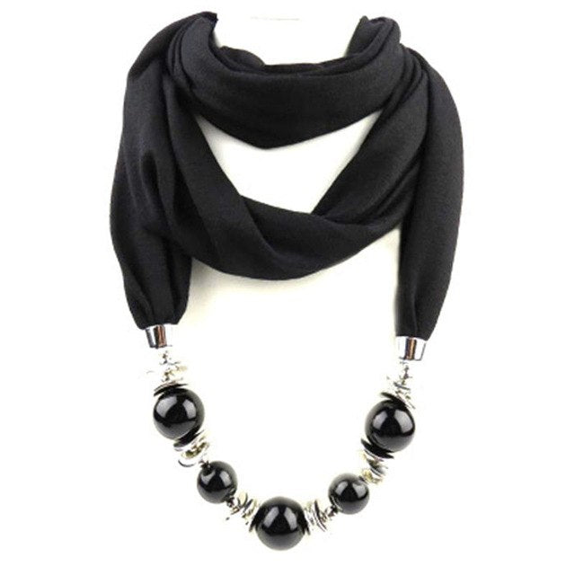 Fashion Ethnic Polyester Solid Collar Tassel Gorgeous beads pendants jewelry Necklace Jewelry Ring Scarf Women Shawl Scarves Hot-geekbuyig