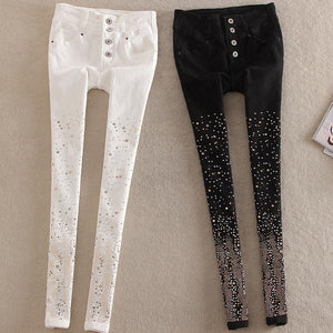 New cotton jeans women Rhinestone high waist single breasted denim pants feet pencil pants plus size-geekbuyig