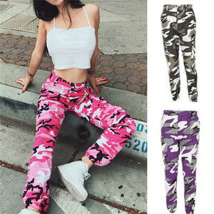 Fashion Women Camouflage Pant High Waist Hiphop Pink Camo Pant With Pockets Girls Military Pant Jogger Dance Pant-geekbuyig