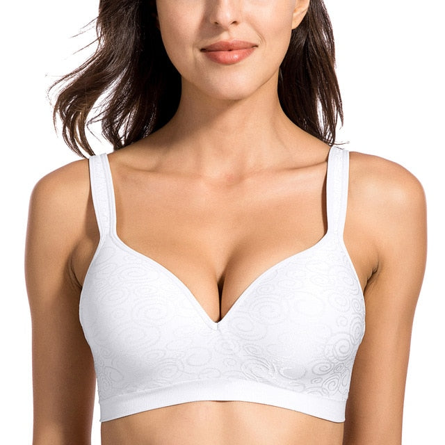 Delimira Women's Jacquard Everyday Comfort Seamless Foam Contour Wire Free Bra-geekbuyig