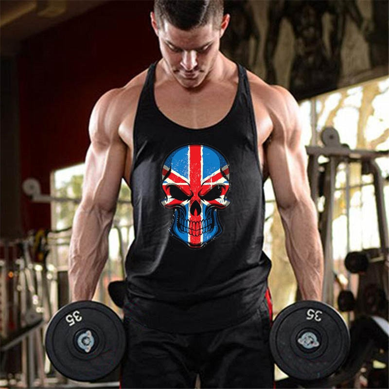 Punisher gyms clothing men muscle guys stringer tank top bodybuilding canottiere golds vest Skulls printed workout undershirt-geekbuyig