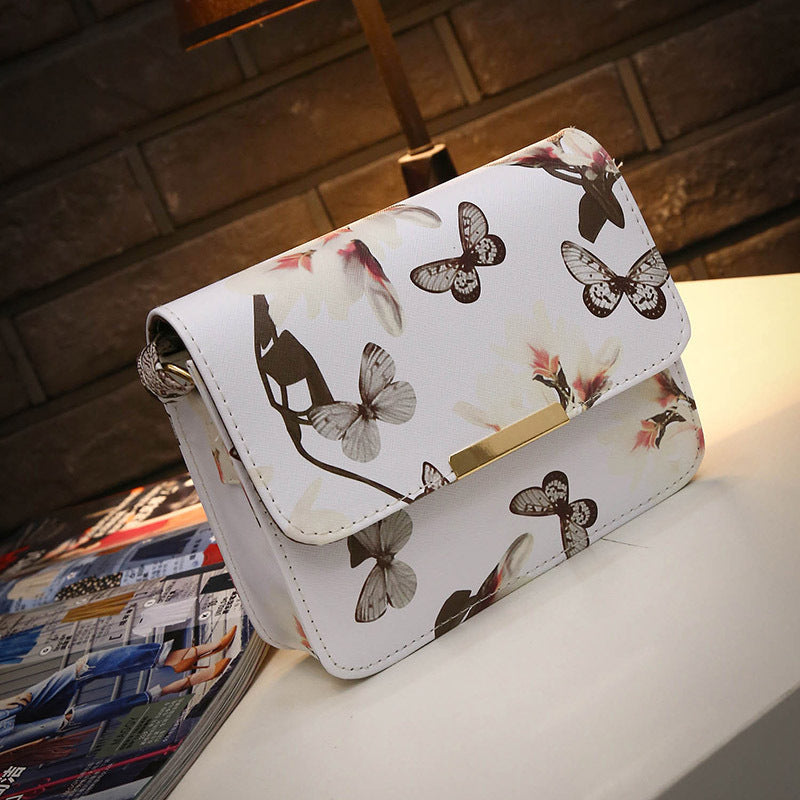 Women Floral leather Shoulder Bag Satchel Handbag Retro Messenger Bag Famous Designer Clutch Shoulder Bags Bolsa Bag Black White-geekbuyig