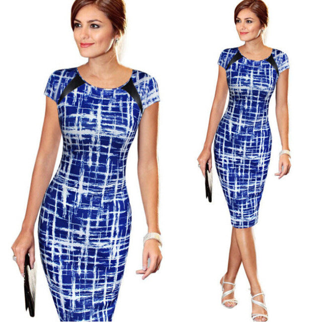 Sought-After New Women Bandage Bodycon Short Sleeve Party Midi Dress-geekbuyig