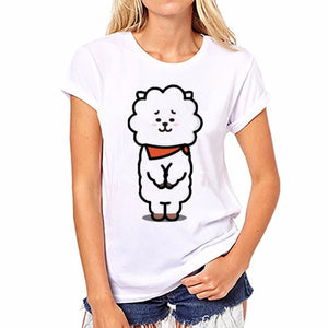 2018 Korean Fashion Bt21 T Shirt Women Tops Summer Bts Sexy Tshirt Harajuku T-shirt Off White Funny T Shirts Leisure Tops-geekbuyig