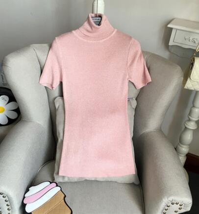 Short Sleeve Pullovers Womens 2017 Brand New Designer European Turtleneck Candy Colors Sexy Knitwear Knitted Sweaters ZZ095-geekbuyig