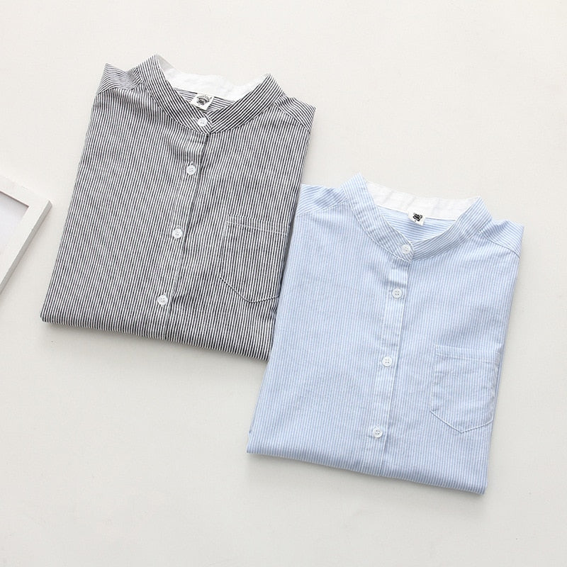 Women Blouses Shirt Female Cotton 2018 New Spring Autumn Stripe Long Sleeve Shirts Women Tops Ladies Clothing S-XL-geekbuyig
