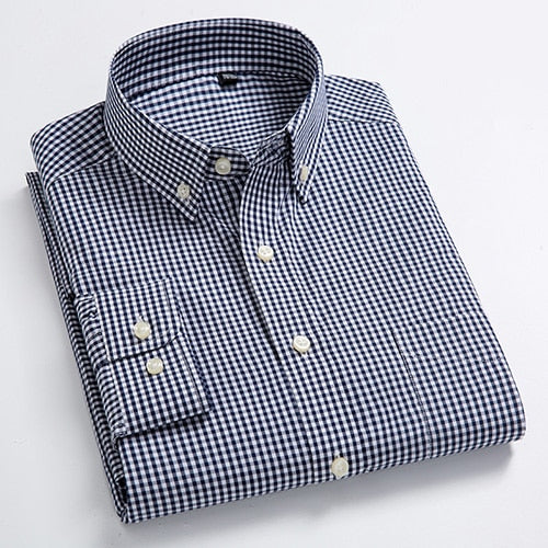 Mens Button-down Dress Shirt with Left Chest Pocket Comfy Soft 100% Cotton Smart Casual Slim-fit Contrast Mini Check Plaid Shirt-geekbuyig