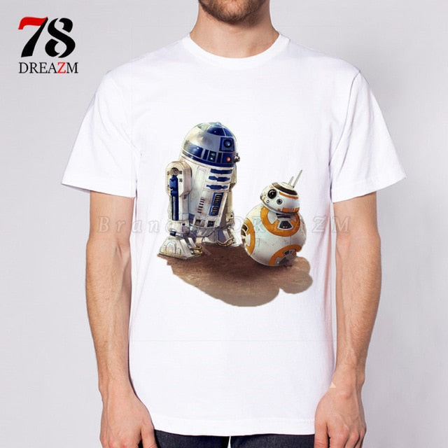 NEW 2018 funny Printed Star Wars T-Shirt robot shirt star wars the last jedi Men's sleeve T shirt Tops Fashion Tees Darth Vader-geekbuyig