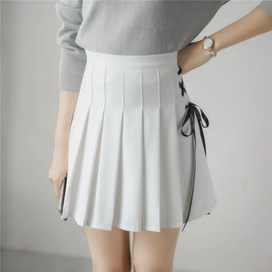 2017 Women Skirt Korean New Spring And Summer College Style Wind Band Bow Pleated Half Skirt Pants High Waist A Word Skirt-geekbuyig