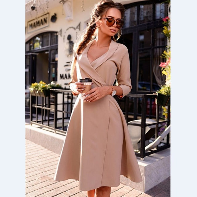 Fashion Vintage Women A-line Office Dress Vestidos Female Pure Color Sexy V-neck Full Sleeve Party Dress YN3039-geekbuyig