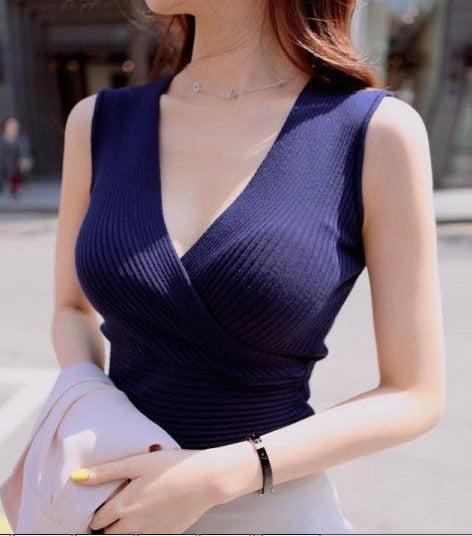 Crop Tops Women 2018 Cropped Sexy Summer Fashion Women V-neck Tank Tops White Black Pink Blue Sleeveless Vetement Femme mujer-geekbuyig