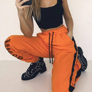 NCLAGEN 2018 New Women Letter Print Trousers Side Black Stripe Orange Pants Spring Autumn High Quality Casual Straight Capris-geekbuyig