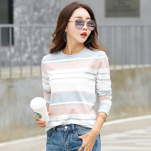 New 2017 Autumn Female T-shirt Long Sleeve Striped Women's T-shirt Cozy Cotton T Shirt Winter Tops Tees Brand Fashion Camisetas-geekbuyig
