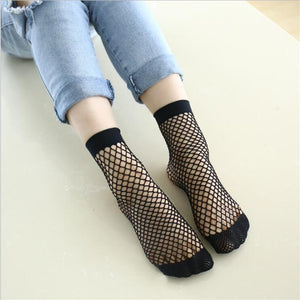 Chic Streetwear Women's Harajuku Candy Color Breathable Fishnet Socks.Sexy Hollow out Nets Socks Ladies Sweet Mesh Sox-geekbuyig