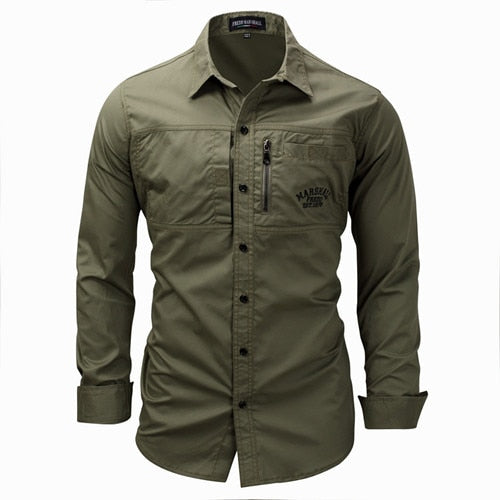 Men Shirt military Mens Long Sleeve Slim fit camisa masculina Khaki Army green Shirt High Quality Shirt men-geekbuyig
