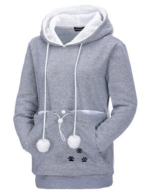 Casual Kangaroo Pullovers With Ears Sweatshirt Drop Shipping Cat Lovers Hoodies With Cuddle Pouch Dog Pet Hoodies-geekbuyig