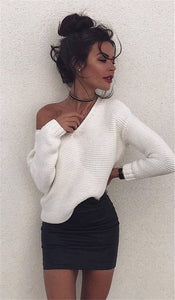 Fashion Women Long Sleeve V-neck Sweater Pullover Knitted Loose Causal Top Solid White Sweater Fall Autumn Warm Clothing Outwear-geekbuyig