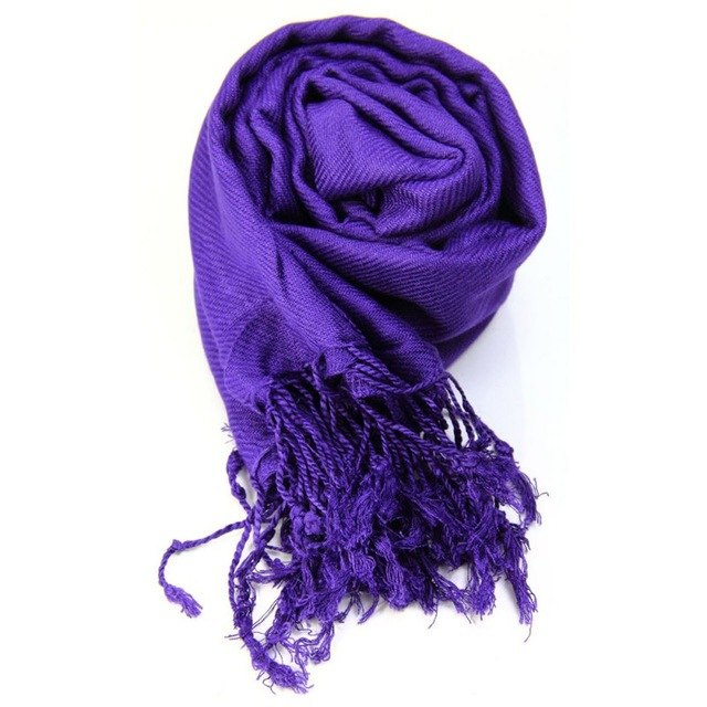 Women's Autumn Winter Pashmina Shawls Scarves Solid Cashmere Scarves Oversized Blanket Scarf Wrap long Wool Tassel Scarf-geekbuyig