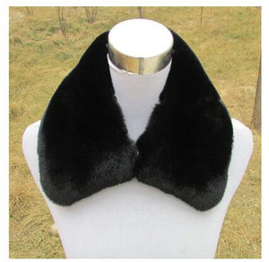 Real Rabbit Fur Collar Winter Warm Collar for Coat Actual only Neck Scarf Shawl Coat Fashion Big Solid Rabbit Fur Collar S#46-geekbuyig