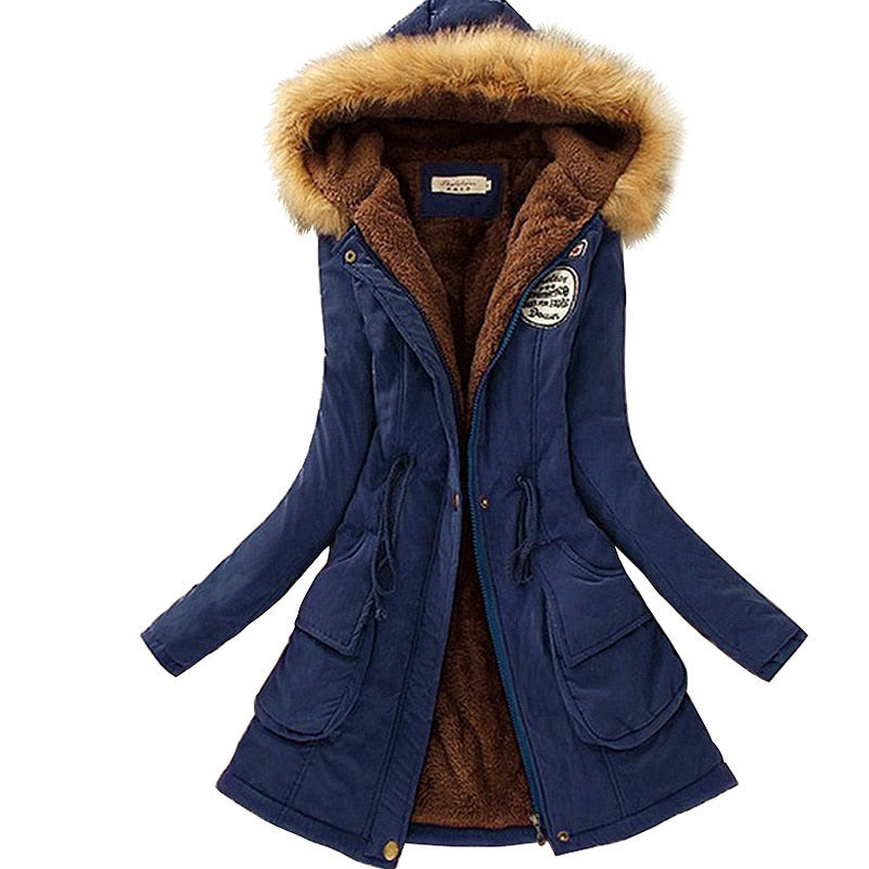 Autumn Warm Winter Jacket Women Fashion Women's Fur Collar Coats Jackets for Lady Long Slim Down Parka Hoodies Parkas-geekbuyig