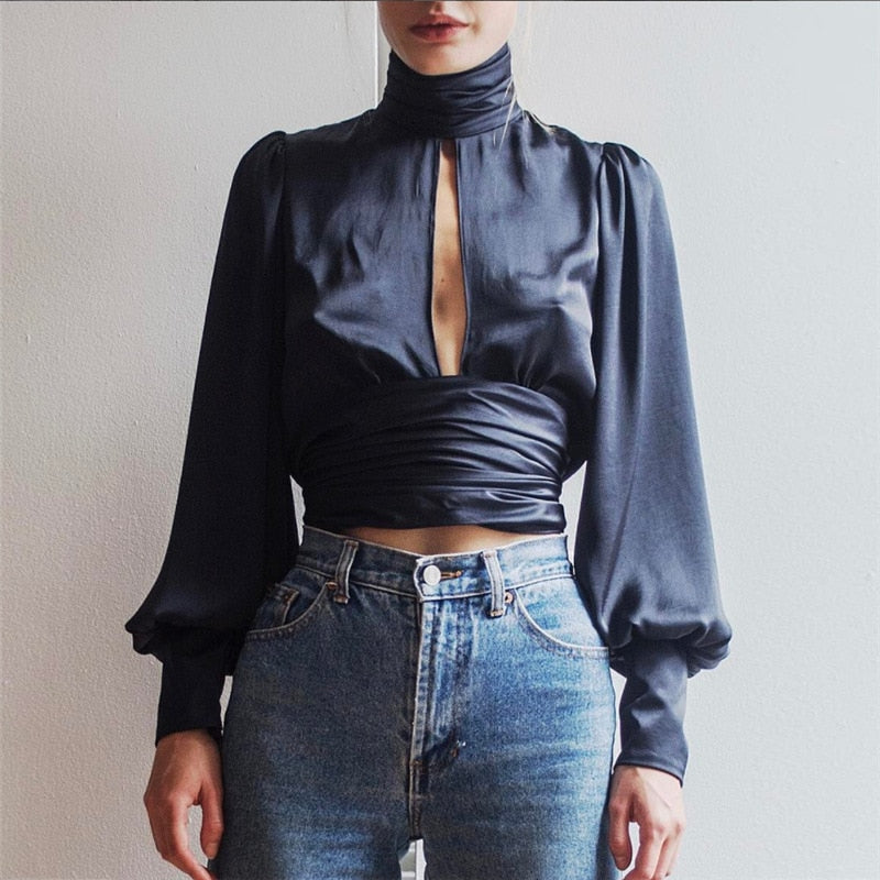 Sexy Backless Tutleneck tiered Ladies Long Sleeve blouse Hollow Out Women tops and blouses sheer top kimonos mujer 2017-geekbuyig