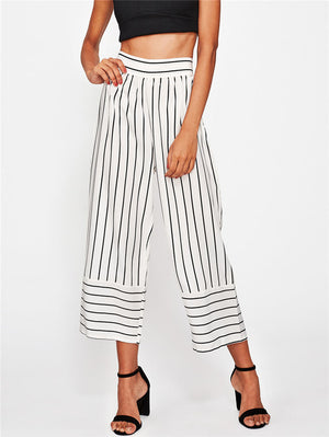 Hot Sale Women Ankle Length Pants Fashion High Waist Ladies Wide Leg Pants Stretchy Stripe Casual OL Pants Trousers-geekbuyig