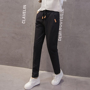 New women cotton linen pants 2018 plus size S-3XL women summer harem capris solid color elastic mid waist pants pencil trousers-geekbuyig