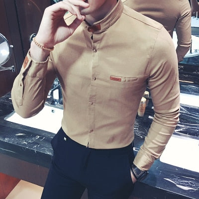 2018 Hot New Man Shirts Long Sleeve Solid Casual Black White Slim Fit Imported Male Clothing Fashion Color Men Collarless Shirts-geekbuyig