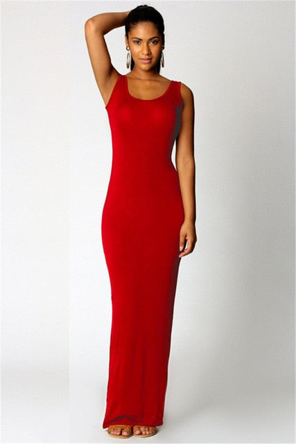 High Stretch Tank Robe Spring Summer 2018 Elegant Women Sexy Dress O-neck Sleeveless Slim Maxi Dress Thin Long Dress Vestidos-geekbuyig