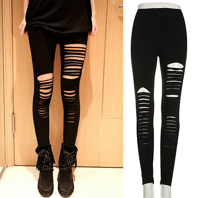 Sexy Women Goth Punk Slashed Ripped Cut Out Slit Stretch Pants Leggings Black Hold Women Pencil Leggings-geekbuyig