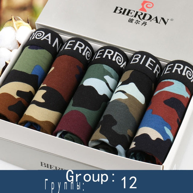 BIERDAN L-5XL Brand Pouch Boxer Shorts Mens Comfortable Men's Boxershorts Cotton Sexy 5pcs/lot Male Underwear Cueca 24TYPE-geekbuyig