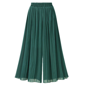 Chiffon Wide Leg High Waist Pant For Women Nine Points Casual Pleated Wide Leg Summer Vintage Boho Female Green Trousers B82205A-geekbuyig